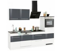 HELD MÖBEL Küchenzeile Trient mit E-Geräten Breite 250 cm, weiß, weiß Hochglanz/anthrazit Hochglanz