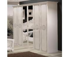 Kleiderschrank GRETA, 6-türig davon 2 Spiegeltüren silberfarben Kleiderschränke Schränke Vitrinen Möbel sofort lieferbar