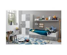 trendteam Jugendzimmer-Set Canaria (Set 3-tlg), grau, Weiß matt/Beton-Optik