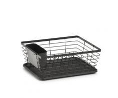 Zeller Present Geschirrständer, Metall, mit Besteck-Box u. Auffangmatte schwarz Abtropfgestelle Küchenhelfer Haushaltswaren Geschirrständer