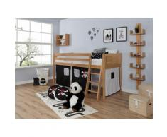 Ticaa Hochbett Eric, mit Rollrost und Textil-Set wahlweise Matratze, Buche beige Kinder Hochbetten Kinderbetten Betten