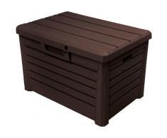 ONDIS24 Auflagenbox Florida Kompakt, 120 Liter, Kunststoff braun Garten- Kissenboxen Gartenmöbel Gartendeko