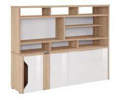 Maja Möbel Computerschrank eDJUST MINIOFFICE 5509, beige, Sonoma-Eiche - Lack weiß Spiegelglanz