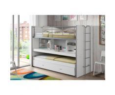 Vipack Hochbett Bonn, mit Schreibtisch und 3 Schlafgelegenheiten weiß Betten Möbel Aufbauservice
