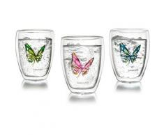 Creano Thermo-Glas, 3-er Set, doppelwandiges Tee-Glas, Latte Macchiato Glas, »Colourfly«, transparent, Neutral, transparent