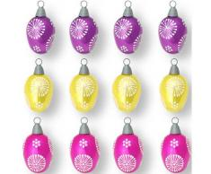 Krebs Glas Lauscha Osterei Floral bunt (Set 12 Stück), bunt, lila-gelb-rosa-weiß
