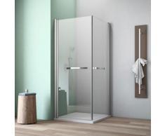 maw by GEO Eckdusche A-E10P, ebenerdiger Einbau möglich silberfarben Bodenablauf Duschkabinen Duschen Bad Sanitär