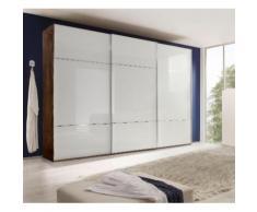 nolte Möbel Schwebetürenschrank Marcato 3, braun, Front Weißglas,Korpus Macadamia-Nussbaum
