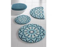 Badgarnitur mit weichem Flor blau Gemusterte Badematten