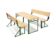 Pinolino Kindersitzgruppe Kinderfestzeltgarnitur mit Lehne Sepp (3-tlg), beige, natur/grün