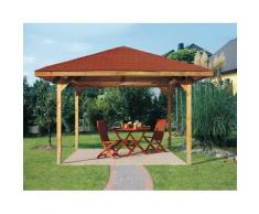 weka Pavillon Paradies 2, (Set), BxT: 380x380 cm, inkl. Dachschindeln und Pfostenanker braun Pavillons Garten Balkon