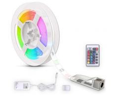 B.K.Licht LED Stripe, Band 3m, silikonbeschichtet, RGB, Fernbedienung, selbstklebend, Farbwechsel, kürzbar, Lichterkette, Band, Streifen, Leiste, Lichtleiste, Weiß weiß LED-Lampen LED-Leuchten SOFORT LIEFERBARE Lampen Leuchten Stripe
