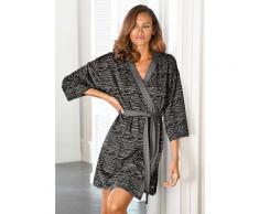 s.Oliver Kimono, aus weich fließendem Baumwollmix schwarz Damen Kimono Nachtwäsche Wäsche