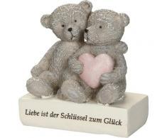 Ambiente Haus Dekofigur Bär - Liebe ist der Schlüssel zum Glück grau Figuren Skulpturen