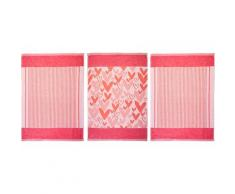 stuco Geschirrtuch Herz, (Set, 9 tlg., 3 Stück mit Herz Motiv, passend dazu 6 weitere Geschirrtücher in Streifenoptik) rot Küchenhelfer Haushaltswaren