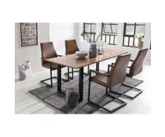 SalesFever Essgruppe, (Set, 5 St.), bestehend aus 4 modernen Freischwinger Stühlen und einem 160 cm breitem Tisch braun Essgruppen Tische Essgruppe