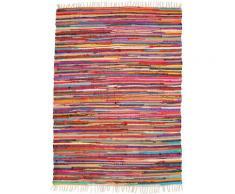 Andiamo Teppich Multi, rechteckig, 10 mm Höhe, Flachgewebe, Flickenteppich, reine Baumwolle, handgewebt, mit Fransen, Wohnzimmer bunt Esszimmerteppiche Teppiche nach Räumen