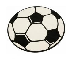 Kinderteppich Fußball HANSE Home rund Höhe 10 mm maschinell gewebt, weiß, Neutral, weiß