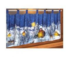 Delindo Lifestyle Scheibengardine Weihnachtsdorf, mit Schlaufenaufhängung, für die Küche, LED-Beleuchtung blau Wohnzimmergardinen Gardinen nach Räumen Vorhänge