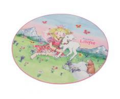 Kinderteppich LI-102 Prinzessin Lillifee rund Höhe 2 mm, rosa, rosa