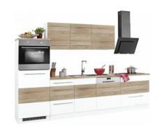 HELD MÖBEL Küchenzeile Trient mit E-Geräten Breite 300 cm mit Stangengriffen aus Metall, braun, weiß/eichefarben