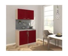 RESPEKTA Küchenzeile, mit Glaskeramikkochfeld und Kühlschrank, Breite 100 cm F (A bis G) rot Küchenzeile Küchenzeilen -blöcke Küchenmöbel Küche Ordnung
