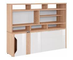 Maja Möbel Computerschrank eDJUST MINIOFFICE 5508, beige, Sonoma-Eiche - Lack weiß Spiegelglanz