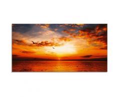 Artland Glasbild Sonnenuntergang am Strand mit wunderschönem Himmel, Sonnenaufgang & -untergang, (1 St.) orange Glasbilder Bilder Bilderrahmen Wohnaccessoires