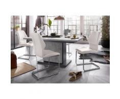 Homexperts Essgruppe Bärbel/Amelie Breite 140 cm mit Auszug und 4 Stühle, grau, Beton-Optik/weiß