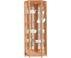 Eckvitrine Höhe 172 cm 4 Glasböden, natur, buchefarben