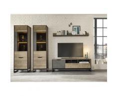 Places of Style Wohnzimmer-Set Malthe, (4 St.), im trendigen Design, 2 große Vitrinen, 1 Lowboard, Wandboard beige Moderne Wohnwände Schränke
