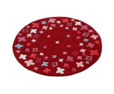 Kinderteppich Bloom Field Esprit rund Höhe 10 mm handgetuftet, rot, Neutral, rot