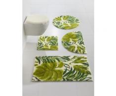 Badgarnitur mit Blätter-Design grün Bedruckte Badematten