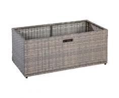 MERXX Kissenbox Unterschiebbox groß, Stahl/Kunststoff beige Garten- Kissenboxen Gartenmöbel Gartendeko