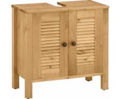 Home affaire Waschbeckenunterschrank Ayanna, aus Massivholz, Höhe 57 cm beige Bad-Waschbecken-Unterschränke Badmöbel