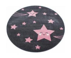 Kinderteppich Kids 610 Ayyildiz rund Höhe 12 mm maschinell gewebt, rosa, pink-grau