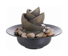 Zimmerbrunnen Flower mit Steinen, grau, grau