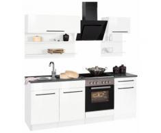 HELD MÖBEL Küchenzeile Tulsa, ohne E-Geräte, Breite 210 cm, schwarze Metallgriffe, hochwertige MDF Fronten weiß Küchenzeilen Geräte -blöcke Küchenmöbel