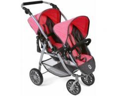 CHIC2000 Puppen-Zwillingsbuggy Tandem-Puppen-Buggy Vario, anthrazit-pink, mit schwenkbaren Vorderrädern grau Kinder Puppenzubehör Puppen