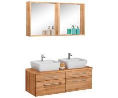 HELD MÖBEL Badmöbel-Set Davos, (3 St.), 2 Spiegel mit Touch-LED-Einbauleuchten braun Waschtische Badmöbel