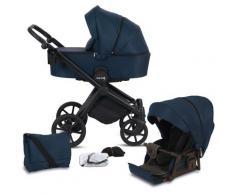Knorrbaby Kombi-Kinderwagen Life+ 2.0 Black Edition, Marine-Blau, 15 kg, Gestell faltbar; Made in Europe; Kinderwagen blau Kinder Kombikinderwagen Buggies