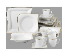 Van Well Kombiservice Porzellan 30 Teile für 6 Personen Goldline, weiß, Neutral, weiß-goldfarben