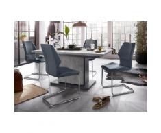 Homexperts Essgruppe Bärbel/Amelie Breite 140 cm mit Auszug und 4 Stühle, grau, Beton-Optik/blau