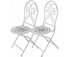 Garden Pleasure Gartenstuhl Bayo, 2er Set, Stahl/Textil, stapelbar weiß Gartenstühle Gartenmöbel Gartendeko