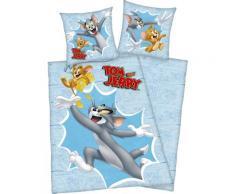 Kinderbettwäsche Tom & Jerry, mit witzigem Jerry Motiv blau Bettwäsche 135x200 cm nach Größe Bettwäsche, Bettlaken und Betttücher