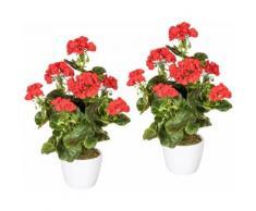 Creativ green Kunstpflanze Geranienbusch rot, im Keramiktopf rot Künstliche Zimmerpflanzen Kunstpflanzen Wohnaccessoires