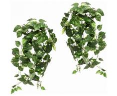 Kunstpflanze Pothoshänger 80 cm (2er Set), grün