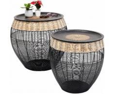 KARE Beistelltisch African Drums (Set 2er-Set), schwarz, schwarz