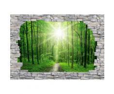 3D Fototapete 3D Sunny Forest Mauer 384/260 cm, grün, grün