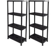 ONDIS24 Steckregal, (Set, 2 St.), je 4 Fachböden, Kunststoff grau Steckregal Regal- Ordnungssysteme Küche Ordnung